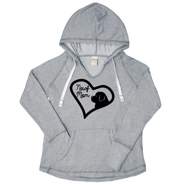 Newf Mom V-Notch Women's Hoody (soft grey)