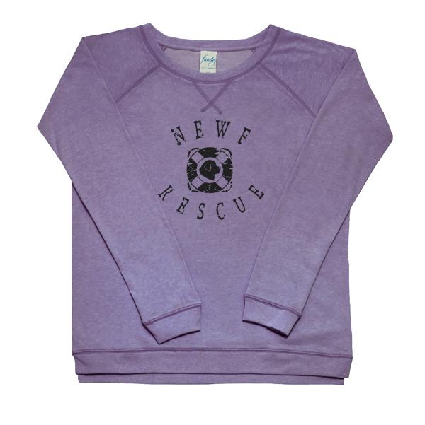 Newf Rescue Women's Fleece Crewneck (purple)